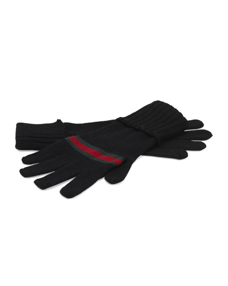 Men's Knit Gloves with Web Detail