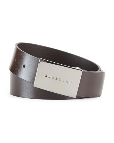Logo-Buckle Belt, Chocolate