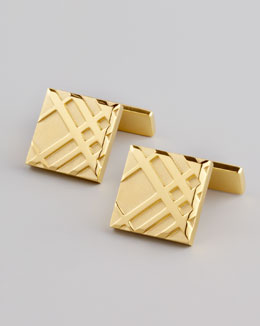 Burberry Embossed Check Cuff Links, Gold