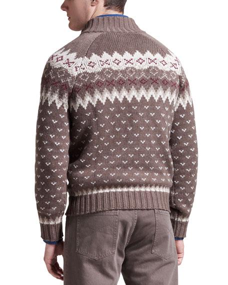 Snow-Print Cashmere Sweater