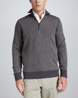 Loro Piana Roadster Half-Zip Cashmere Sweater, Licorice Melange