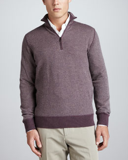 Loro Piana Roadster Half-Zip Cashmere Sweater, Vineyard Wine