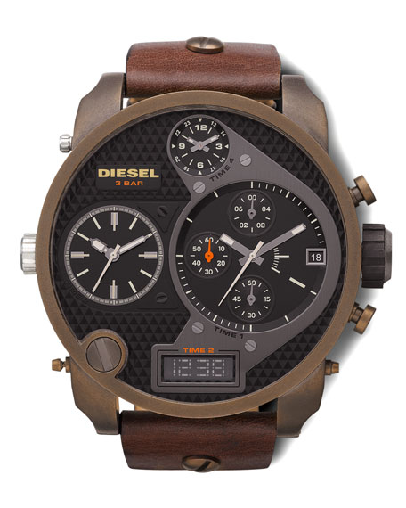 Ionic-Plated Chronograph Watch, Brown