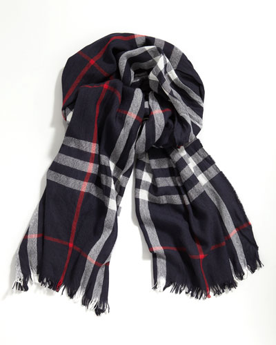 Check Crinkled Scarf, Navy