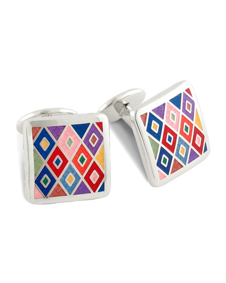 Diamond-Pattern Cuff Links