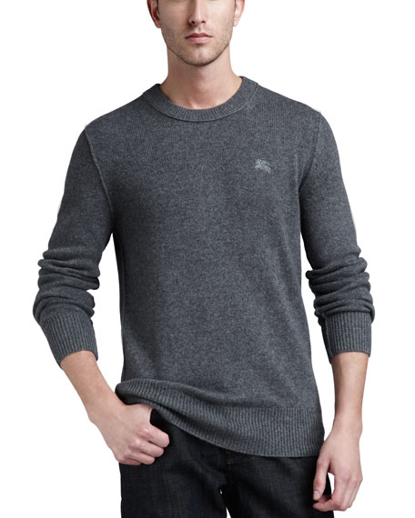 Check-Patch Cashmere Sweater, Mid Gray Melange