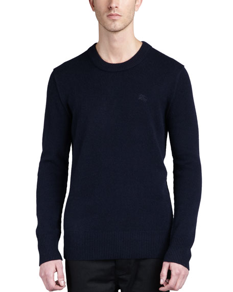 Check-Patch Cashmere Sweater, Navy