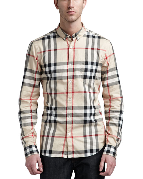 Burberry brit new classic check button down shirt for Burberry brit checked shirt