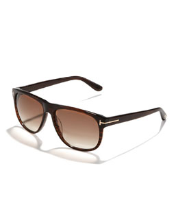 Tom Ford Olivier Plastic Sunglasses, Brown