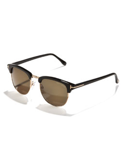 Tom Ford Henry Sunglasses, Rose Gold/Black
