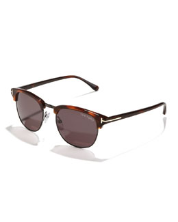 Tom Ford Henry Sunglasses, Gunmetal/Havana