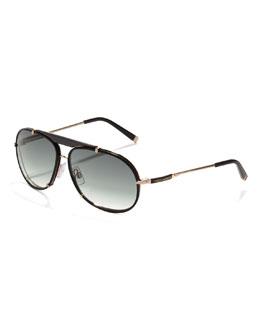 Dsquared2 Leather Navigator Sunglasses, Black