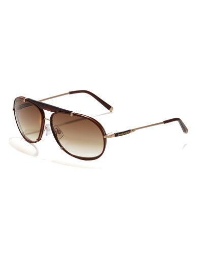 Dsquared2 Leather Navigator Sunglasses, Havana
