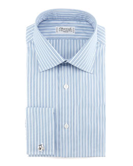Charvet Striped French-Cuff Dress Shirt, Blue/White