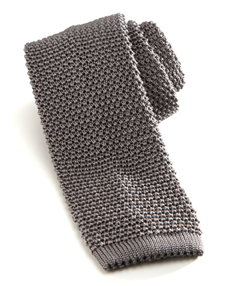 Charvet Knit Silk Tie, Gray