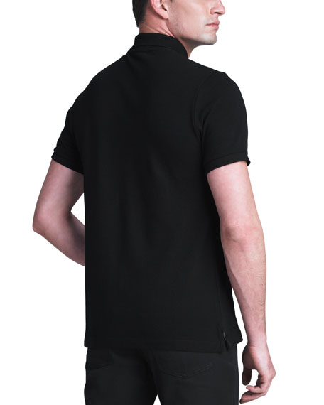Modern-Fit Logo Polo, Black