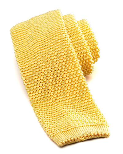 Charvet Knit Silk Tie, Yellow