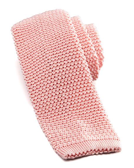 Knit Silk Tie, Pink