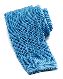 Charvet Knit Silk Tie, Light Blue