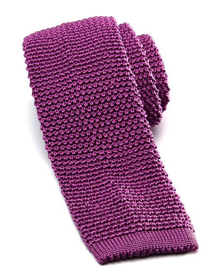 Knit Silk Tie, Light Purple