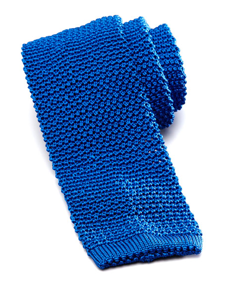 Knit Silk Tie, Royal Blue