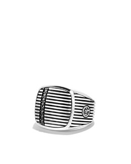 David Yurman Royal Cord Signet Ring with Black Diamonds