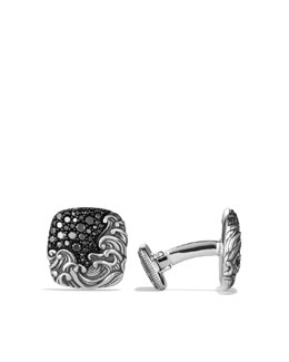David Yurman Waves Cuff Links with Black Diamonds