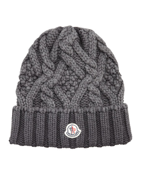 Washed Wool Cable Beanie