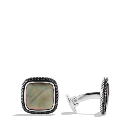 Streamline Cuff Links with Black Mother-of-Pearl and Black Diamonds