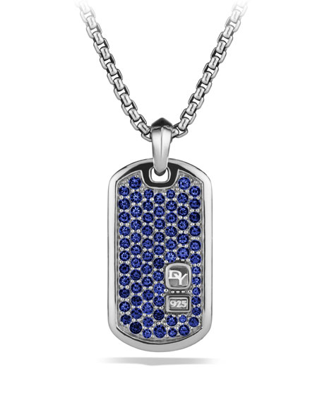Pav&#233 Tag with Sapphires on Chain