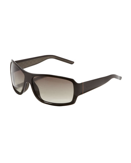 Web-Temple Shield Sunglasses, Brown