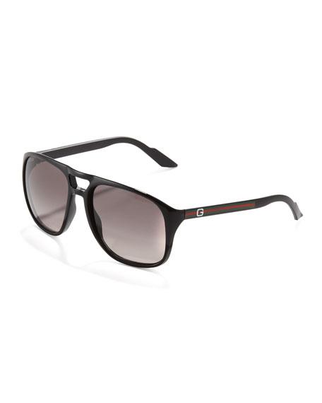 Web-Arm Enamel Aviator Sunglasses, Black
