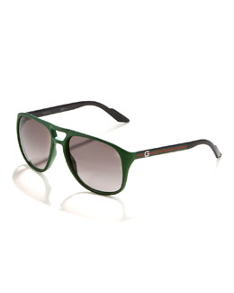 Gucci Plastic Aviator Sunglasses, Green