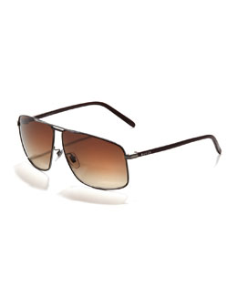 Gucci Metal Logo Aviator Sunglasses, Dark Brown