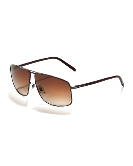 Metal Logo Aviator Sunglasses, Dark Brown