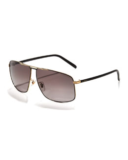 Gucci Metal Logo Aviator Sunglasses, Black
