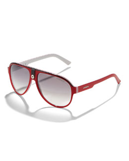 Carrera Plastic Sport Aviator Sunglasses, Red