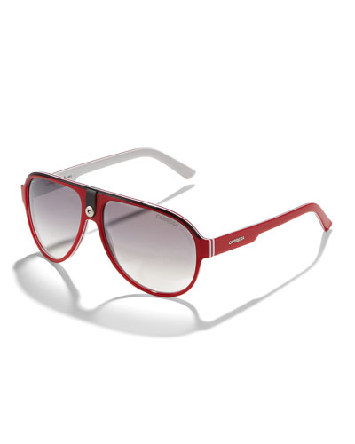 Carrera Plastic Sport Aviator Sunglasses, Red