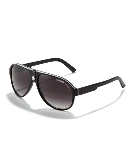 Plastic Sport Aviator Sunglasses, White/Black