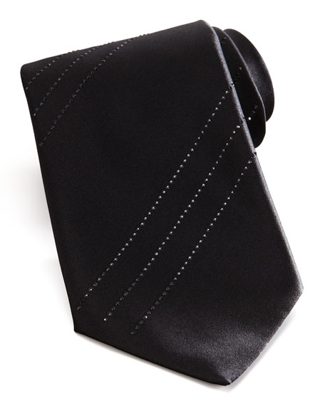 Tonal Crystal Stripe Tie, Black