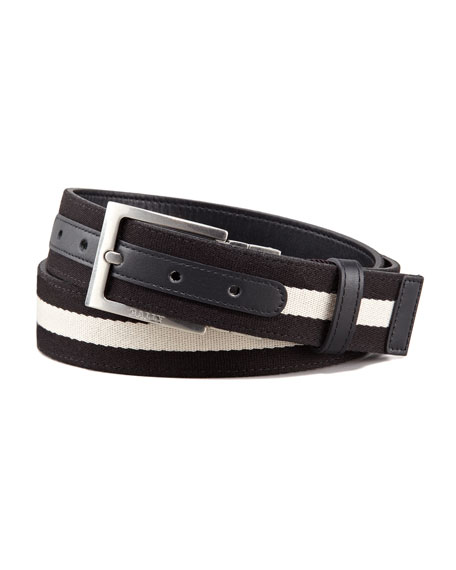 Bally Reversible Web-Leather Belt, Black