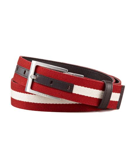 Reversible Web-Calfskin Belt, Brown