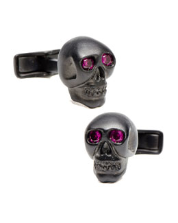 Ravi Ratan Crystal Skull Cuff Links