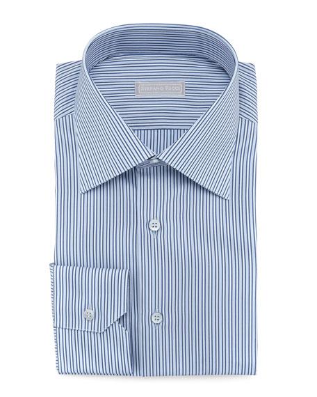 Micro-Striped Dress Shirt, Blue