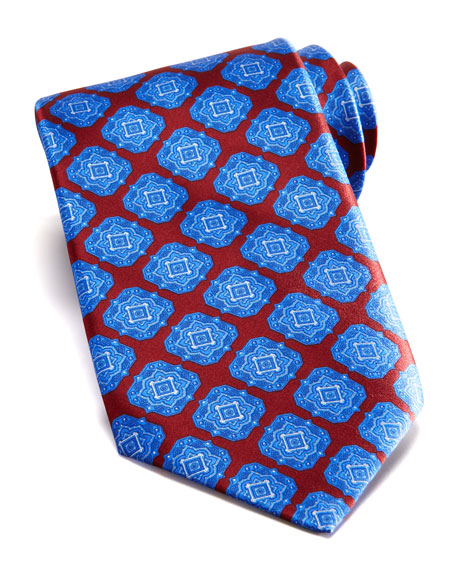 Large Medallion Silk Tie, Red/Blue