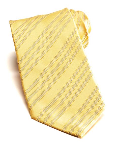 Bias Stripe Silk Tie, Yellow