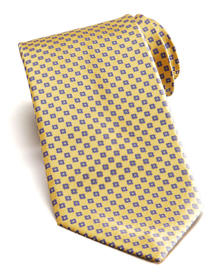 Floral Silk Tie, Yellow
