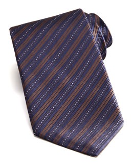 Stefano Ricci Bias Stripe Silk Tie, Brown/Navy