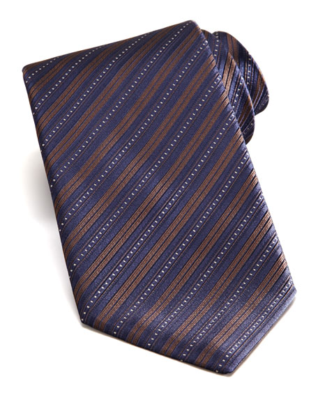 Bias Stripe Silk Tie, Brown/Navy