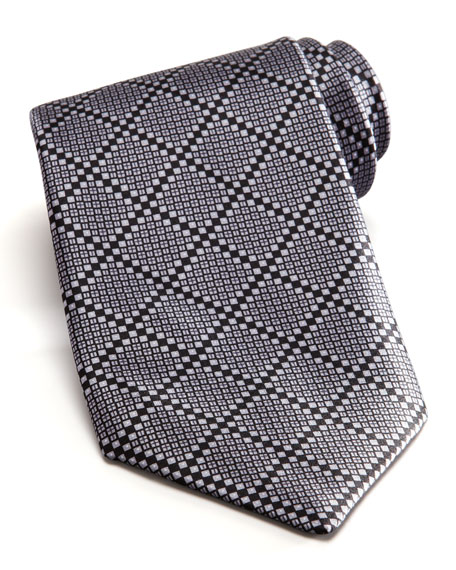 Tonal Grid Silk Tie, Gray